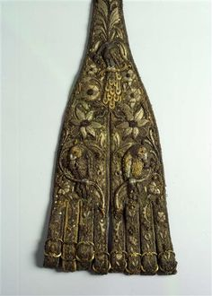 1620 Spanish-Italian: Part of festive hunting ensemble of Prince Johann George of Saxony. Leather, silk, relief embroidery: gold and silver thread, multicolored silk, silver gild, black glass beads, gold edging; silver and brass fittings, partly engraved and gilt