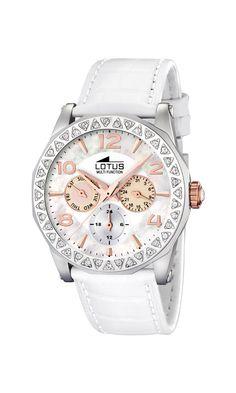 Lotus 15684/2 - Reloj de mujer de cuarzo, correa de piel color blanco: Amazon.es: Relojes