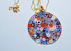 Necklace MURRINE Mllefiori gold 1.5 Inch in Murano Glass JEWEL MORBIDEIDEE