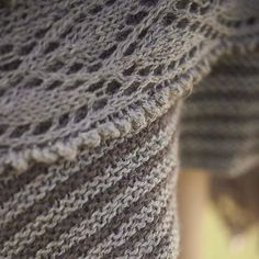 Free knitting pattern download, Mullion Cove Shawlis a garter stitch striped shawl edged with a simple lace border. Knit up in Blacker Lyonesse 4ply.