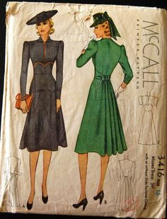 Vintage 1939 McCall's Sewing Pattern 3416 - would make a good nursing dress in the right fabric and closure combination Vintage Dress Patterns, Clothing Patterns, Vintage Dresses, Vintage Outfits, Vintage Clothing, 1940s Fashion, Fashion Sewing, Vintage Fashion, 30s Dress
