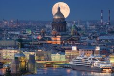 Moon over Isaac's cathedral, St Petersburg, Russia Places Around The World, Oh The Places You'll Go, Places To Travel, Places To Visit, Around The Worlds, St Petersburg Russia, Wonderful Places, Beautiful Places, Beautiful Buildings