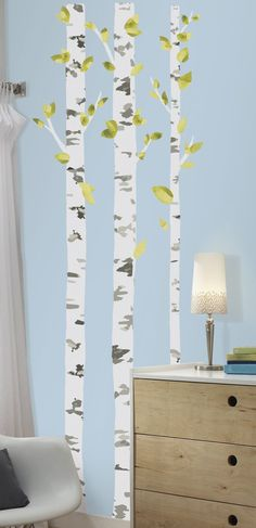 Amazon.com: RoomMates RMK2662GM Birch Trees Peel and Stick Giant Wall Decals: Home Improvement