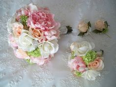 Vintage Pink and Peach Silk Peony and Cream/white realtouch Rose Wedding Lace Bridal and Bridesmaids Bouquet Set.