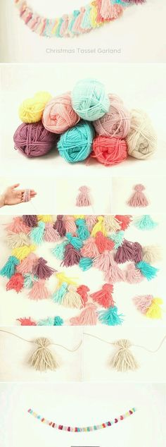 Christmas Alternative Tassel Garland Tassle garland, what an cheap way ti make such a eye catching deco.Tassle garland, what an cheap way ti make such a eye catching deco. Yarn Crafts, Diy And Crafts, Arts And Crafts, Navidad Diy, Ideias Diy, Pom Pom Garland, Diy Tassel Garland, Tassles Diy, Pom Pom Diy