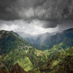 Rainshower over El Aguacate in Colombia. Photograph by Rory O'Bryen.