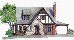 Brick and stone combine to create a friendly, English-style cottage perfect for…