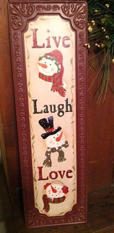 New Country Primitive LIVE LAUGH LOVE SNOWMAN Vintage Embossed Tin Sign Picture