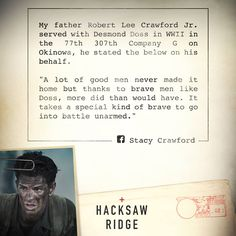 Read the true story of a soldier who was personally affected by the real Desmond Doss. Don't miss Doss' incredible story in #HacksawRidge - Now playing. Tickets: http://lions.gt/hacksawridgetickets