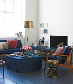 Navy Blue Living Room Ideas | ... Interior Decorating with Bright Red Color Accents or Dark Room Colors