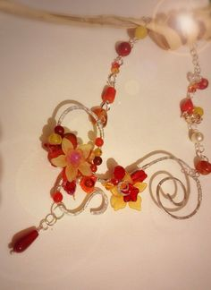 Red Glass Flower Necklace Wire Wrapped Silver by EmeraldsDreams, $57.00