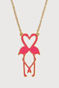 Hot Pink Double Flamingo necklace - not only do they look like they're kissing, they form a heart, so sweet!