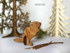Cool laser cut 3D Beaver / Woodland animals / Beaver figurine / Forest animals / Pretend play / 3D Beaver / Laser cut animals / Wood animals by DosheEcoDecorCharms on Etsy