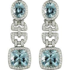 Asprey Windsor Earrings, Aquamarine ($22,610) ❤ liked on Polyvore