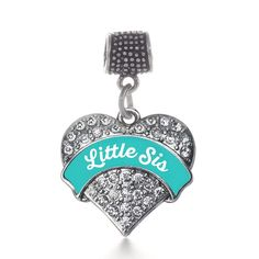 Teal Little Sis Pave Heart Memory Charm