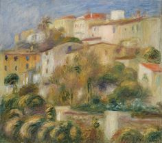 "the-barnes-art-collection: ""Houses on a Hill (Groupe de maisons sur un coteau) by Pierre-Auguste Renoir, Barnes Foundation Medium: Oil on canvas Barnes Foundation (Philadelphia), Collection Gallery,..."