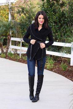 Quilted wrap jacket with ribbon tie. The perfect comfy and cozy layer.