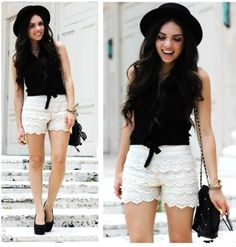 White crochet shorts outfits with black top