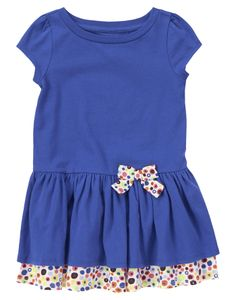 SIZE: 18-24m or larger since it can be worn any time of the year. Twirly double hem dress with colorful dots and a bow.
