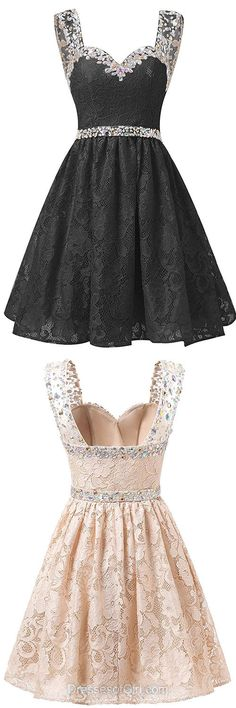 Cheap Homecoming Dresses, Short Prom Dresses, Sweetheart Party Dresses, Lace Cocktail Dress, Sexy A-line Formal Gowns