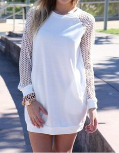 Stylish Round Collar Long Sleeve Solid Color Cut Out Women's Dress