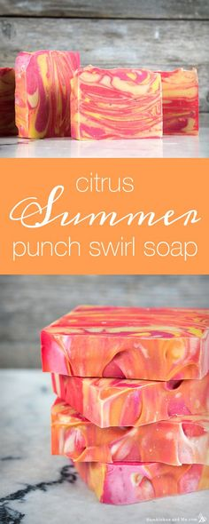 34 Spectacular DIY Soap Recipes Soap Recipes DIY - Citrus Summer Punch Swirl Soap - DIY Soap Recipe Ideas - Best Soap Tutorials for Soap Making Without Lye - Easy Cold Process Melt and Pour Tip Diy Savon, Summer Punch, Homemade Soap Recipes, Soap Making Recipes, Homemade Soap For Kids, Homemade Soap Bars, Bath Recipes, Homemade Crafts, Best Soap