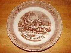 "Retro Royal China American Farm Scene 10"" Pie Plate/Pan"