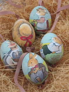 Handpainted Easter Eggs with Beatrix Potter style Bunnies
