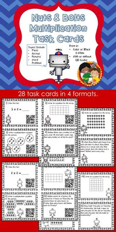 This file contains 28 multiplication task cards. They include questions about basic facts, arrays, multiplication pictures and word problems.  Task cards are available in 4 formats: Color with QR Codes Color without QR Codes Black & White with QR Codes Black & White without QR Codes
