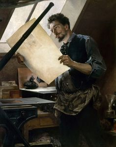 Paul Mathey - Felicien Rops in His Studio. Paul Mathey (1844 - 1929) first exhibited at the Paris Salon of 1868. Chateau de Versailles - Oil on canvas, 145 x 116 cm.