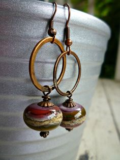 Lampwork glass & copper hammered ring