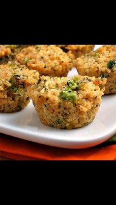 Cheesy broccoli quinoa cups --I used low sodium chicken broth to cook the quinoa and will use regular chicken broth next time to give it flavour