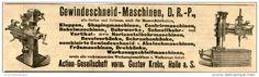 Original-Werbung/ Anzeige 1903 - GEWINDESCHNEID- MASCHINEN-/ GUSTAV KREBS/HALLE a.d. S. - ca. 200 x 55 mm
