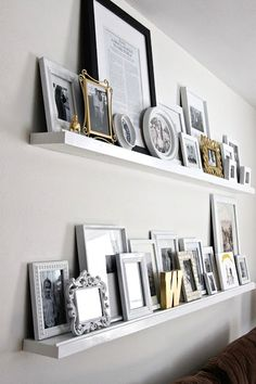 Diy small home projects big impact my someday house pertaining to picture frame shelf decor Photo Shelf, Picture Shelves, Picture Frames, Picture Ledge, Shelves For Pictures, Door Picture, Photo Ledge Display, Gallery Wall Shelves, Display Pictures