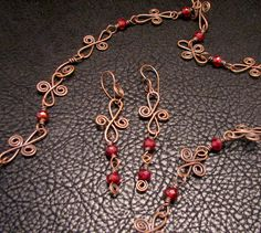 Oxidized Copper Wire Ruby Rondell Picasso Necklace