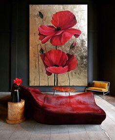 Acrylic Painting Flowers, Acrylic Painting Canvas, Canvas Art, Paintings Of Flowers, Gold Wall Art, Canvas Painting Tutorials, Art Painting Gallery, Watercolor Art, Ideas