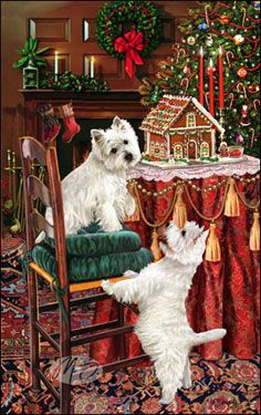 """SORRY SOLD OUT West Highland White Terrier Christmas Holiday Cards are 8 1/2"""" x 5 1/2"""" and come in packages of 12 cards. One design per package. All designs include envelopes, your personal message, and choice of greeting. Select the greeting of your choice from the drop-down menu above. Add your personal message to the Comments box during checkout."""