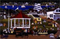 """Carol Dyer Limited Edition Print:""""Sea Music on the Village Green"""""""
