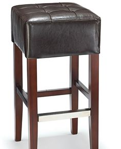 Primo Wooden Bar Stool - Real Top Grain Brown Leather Padded Seat - Walnut Frame
