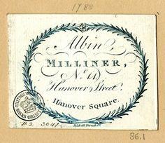 Trade card of Albin, milliner, British Museum D,2.3041