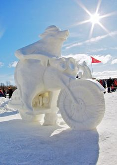 There are really stunning snow sculptures and below I will present 20 most amazing snow sculptures. Some of them are made in a world snow sculpture competitions and take the one of the third winner places. Snow Sculptures, Sculpture Art, Metal Sculptures, Abstract Sculpture, Bronze Sculpture, Lake Geneva Winterfest, Ice Art, I Love Snow, Snow Pictures
