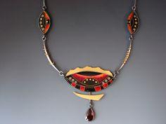 Necklace | Lisa Hawthorne. Silver and Fine Cloisonné Enamel