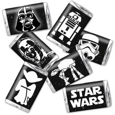 Star Wars candy wraps - birthday party favor decor - instant download - fits hershey's miniatures - black & white - darth vader