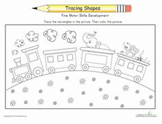 kindergarten shapes vehicles worksheets trace the train - Kindergarten Tracing Pages