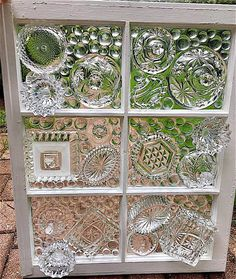 Six Pane Vintage Glass Window Clear These are amazing! Window Frame Crafts, Window Art, Glass Garden Flowers, Glass Garden Art, Stained Glass Crafts, Stained Glass Patterns, Mosaic Art, Mosaic Glass, Fused Glass
