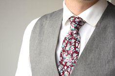 Mens tie Maroon Burgundy floral necktie Tie Men 2.36