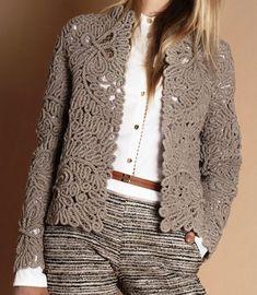 New knitting crochet patterns french Ideas Crochet Jacket, Lace Jacket, Crochet Cardigan, Knit Crochet, Dress Design Patterns, Clothing Patterns, Knit Fashion, Fashion Outfits, Irish Crochet