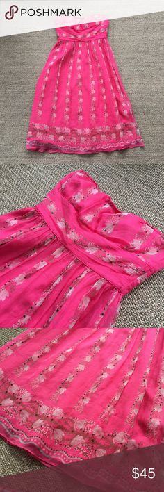 J. Crew Pink Silk Sequin Floral Tube Dress 0 Gently to well worn condition. No known flaws. 100% Silk and 100% Polyester lining. Hits right at or right below knee length depending on your height. 🐾 Comes from a smoke-free, but not pet-free home. 🚫 No trades. No holds. 📦 Fast shipping! 🙋🏻 Considering all reasonable offers! J. Crew Dresses Midi