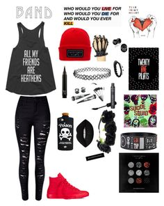"""""""ImWithTheBand"""" by somewhereinwonderland112 ❤ liked on Polyvore featuring Converse, WithChic, Valfré, Lime Crime, Shamballa Jewels, bandtshirt and bandtee"""