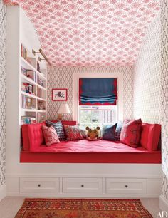 Wall coverings by Hinson & Co. (on the ceiling) and Phillip Jeffries (on the walls) animate a child's room in Brooklyn brownstone.